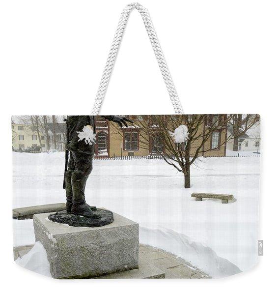 Weekender Tote Bag featuring the photograph Joshua Lawrence Chamberlain Statue, Brunswick, Maine  -50415 by John Bald