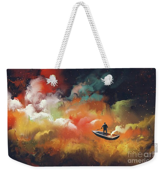 Weekender Tote Bag featuring the painting Journey To Outer Space by Tithi Luadthong