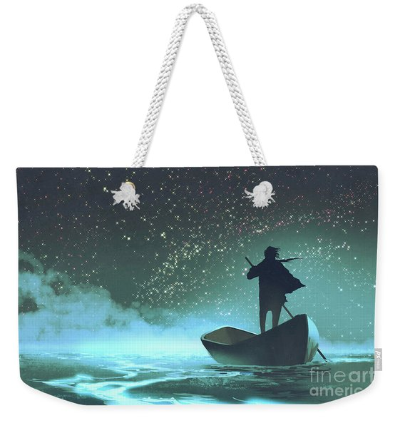 Weekender Tote Bag featuring the painting Journey To The New World by Tithi Luadthong