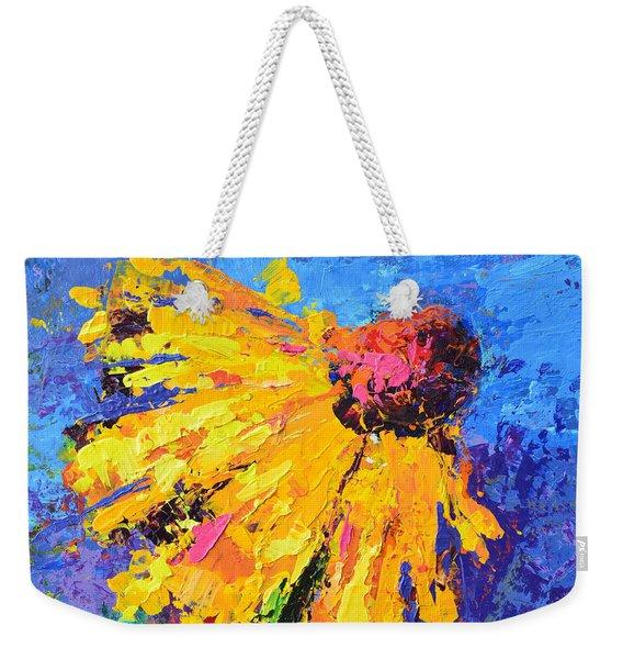 Joyful Reminder Modern Impressionist Floral Still Life Palette Knife Work Weekender Tote Bag