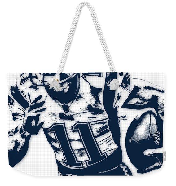 Julian Edelman New England Patriots Pixel Art 2 Weekender Tote Bag