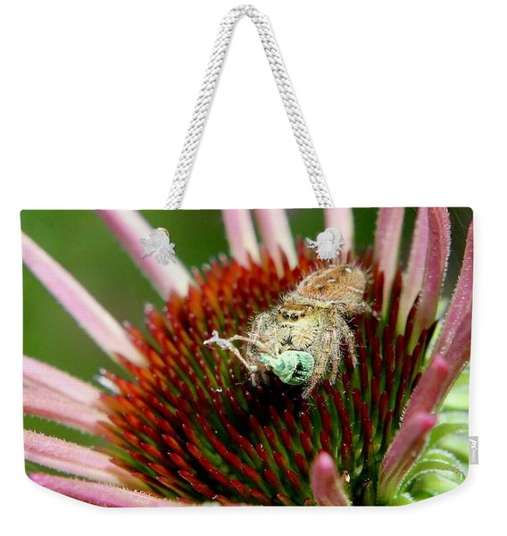 Jumping Spider With Green Weevil Snack Weekender Tote Bag