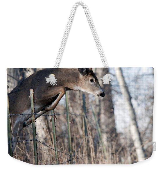 Jumping White-tail Buck Weekender Tote Bag