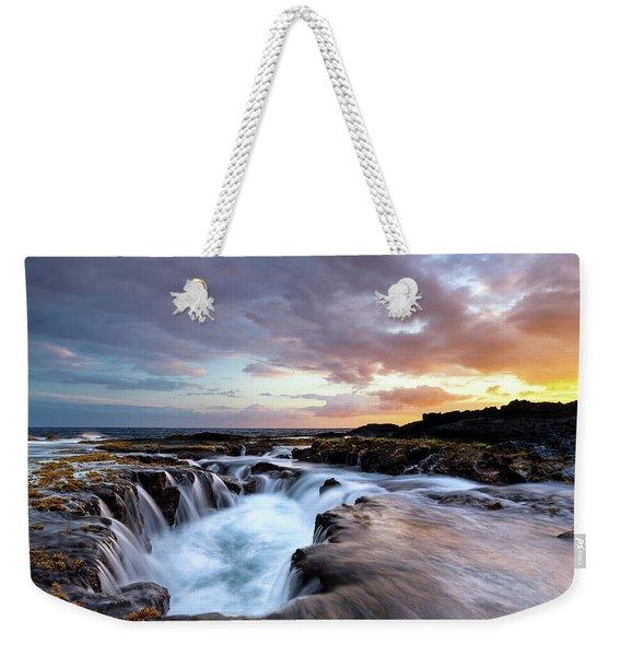 June Blow Hole Sunset Weekender Tote Bag