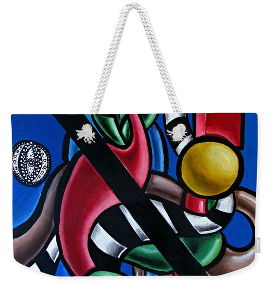 Original Colorful Abstract Art Painting - Multicolored Chromatic Artwork Weekender Tote Bag