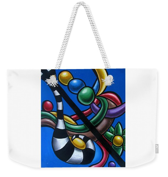 Original Colorful Abstract Art Painting - Multicolored Chromatic Artwork Painting Weekender Tote Bag
