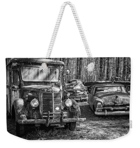 Junked Mack Truck Ad Old Plymouth Weekender Tote Bag