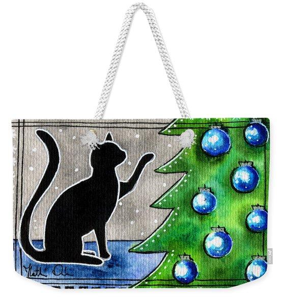 Just Counting Balls - Christmas Cat Weekender Tote Bag