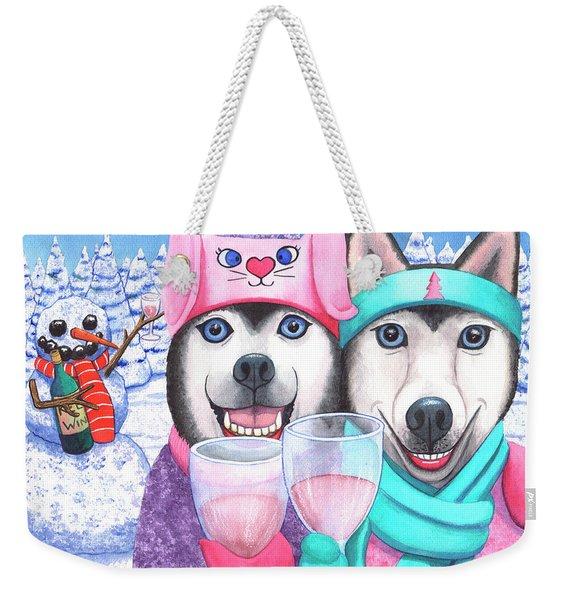 Just Wining In A Winter Wonderland Weekender Tote Bag