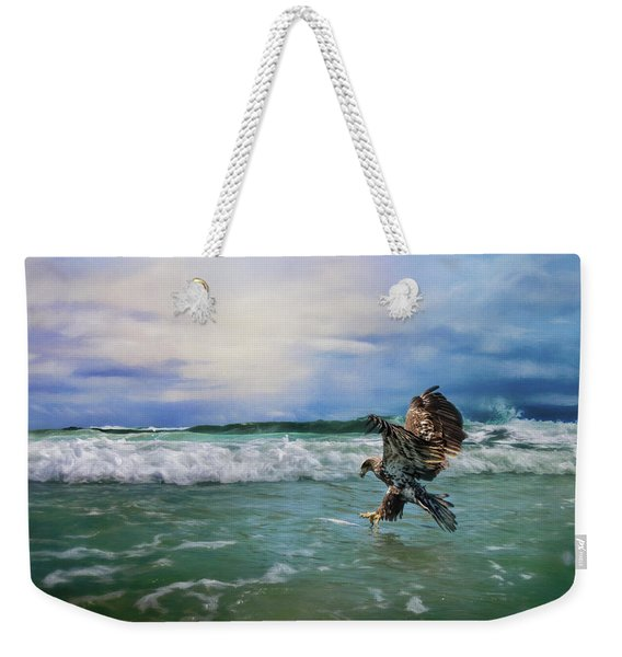 Juvenile Eagle At Sea Wildlife Art Weekender Tote Bag