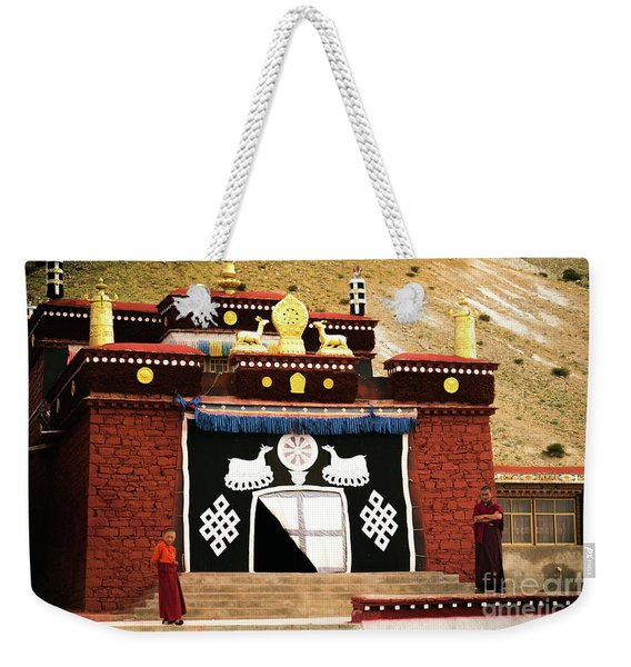 Monks And Buddhist Monastery Tibet Yantra.lv  Weekender Tote Bag