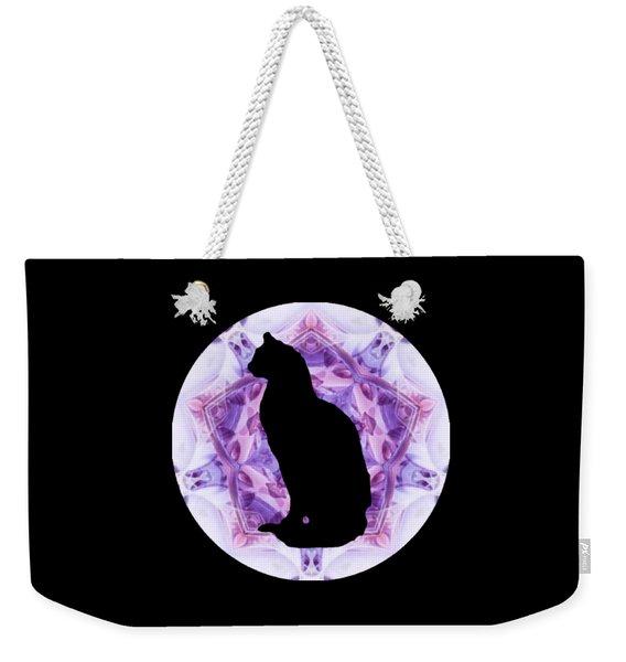 Kaleidoscope Cat Silhouette Weekender Tote Bag