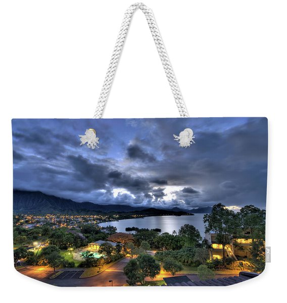 Kaneohe Bay Night Hdr Weekender Tote Bag