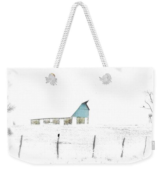 Kansas Blue Barn In Frozen Fog Weekender Tote Bag