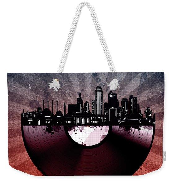 Kansas City Skyline Vinyl 6 Weekender Tote Bag