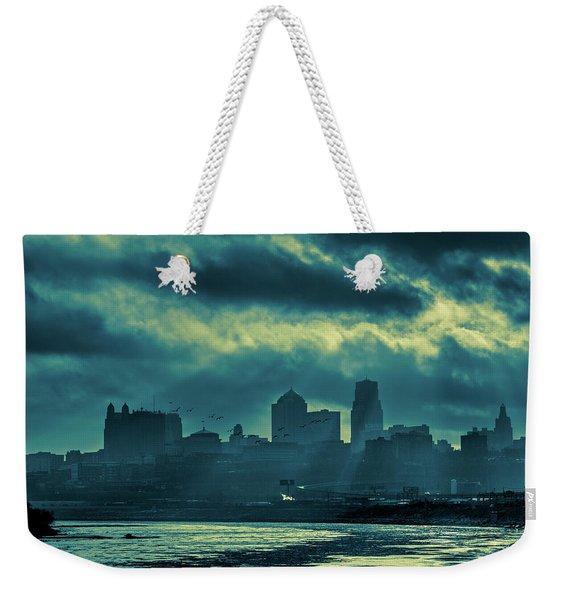 Kaw Point Kansas City Skyline Weekender Tote Bag