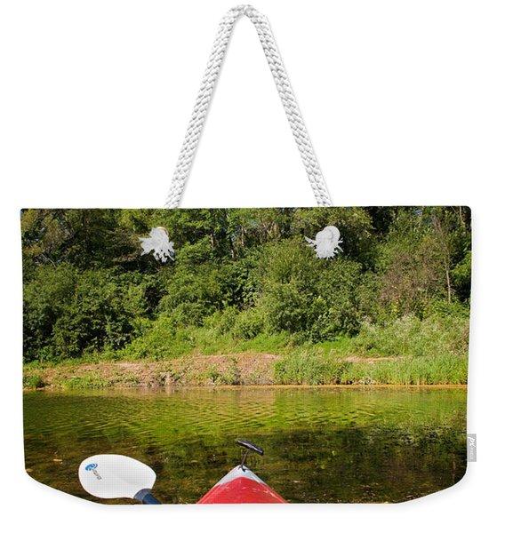 Kayak On A Forested Lake Weekender Tote Bag