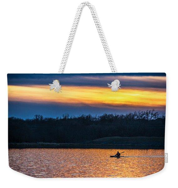 Kayak Sunset Weekender Tote Bag