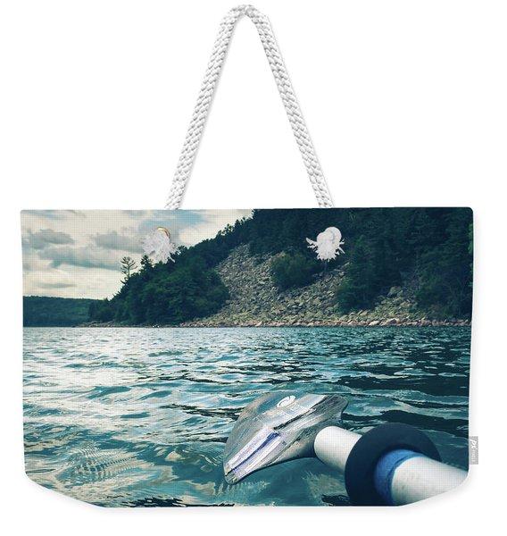 Kayaking At Devils Lake Weekender Tote Bag