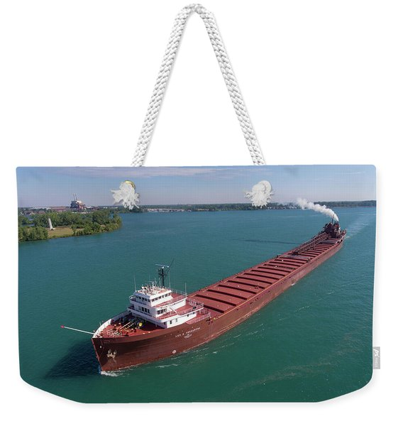 Lee A. Tregurtha Downbound At Belle Isle Weekender Tote Bag