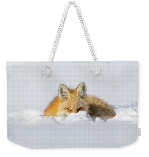 Snow Hide Weekender Tote Bag