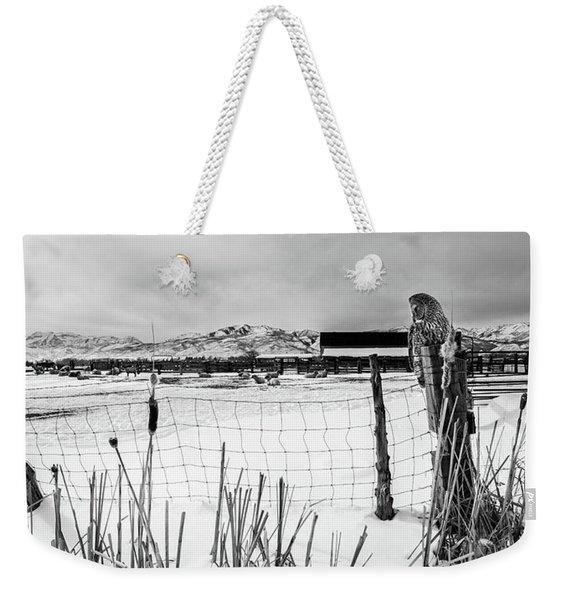 Keeping Watch Black And White Weekender Tote Bag