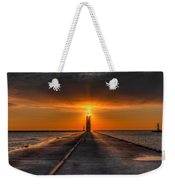 Kenosha Lighthouse Beacon Square Weekender Tote Bag