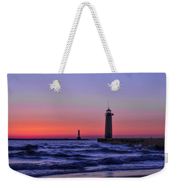 Kenosha Lighthouse Blue Waves Weekender Tote Bag