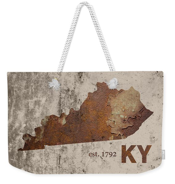 Kentucky State Map Industrial Rusted Metal On Cement Wall With Founding Date Series 002 Weekender Tote Bag
