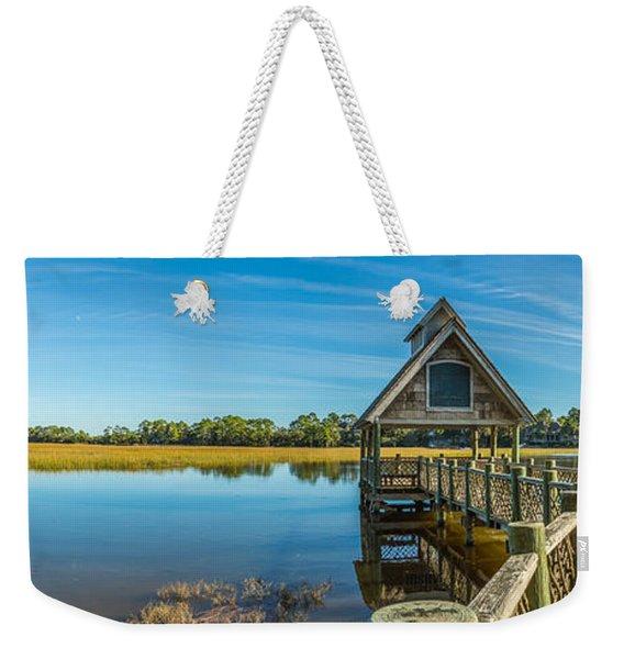 Kiawah Island Boathouse Panoramic Weekender Tote Bag