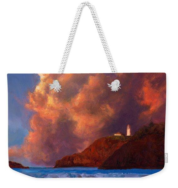 Kilauea Lighthouse - Hawaiian Cliffs Sunset Seascape And Clouds Weekender Tote Bag