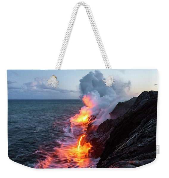 Kilauea Volcano Lava Flow Sea Entry 3- The Big Island Hawaii Weekender Tote Bag