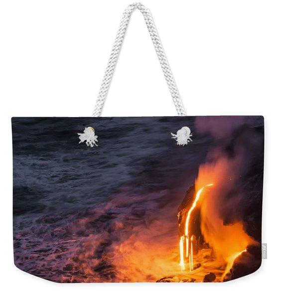 Kilauea Volcano Lava Flow Sea Entry 6 - The Big Island Hawaii Weekender Tote Bag