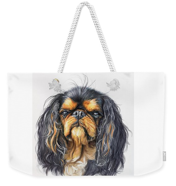Weekender Tote Bag featuring the painting King Charles Spaniel In Watercolor by Barbara Keith