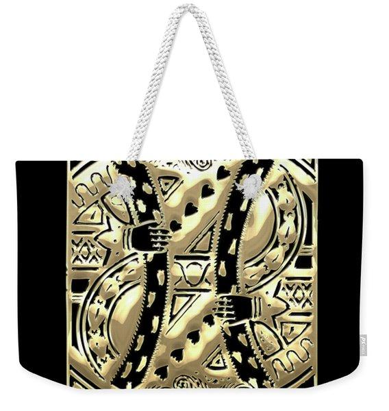 King Of Hearts In Gold On Black Weekender Tote Bag