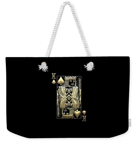 King Of Spades In Gold On Black   Weekender Tote Bag
