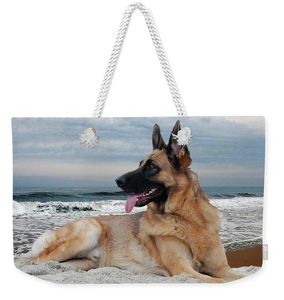 King Of The Beach - German Shepherd Dog Weekender Tote Bag