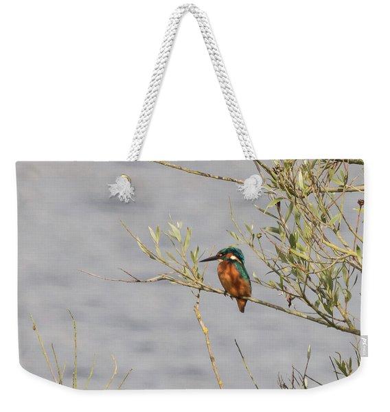 Kingfisher Waiting Weekender Tote Bag