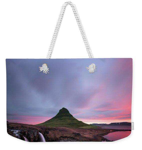 Kirkjufellsfoss Waterfalls Iceland Square Version Weekender Tote Bag