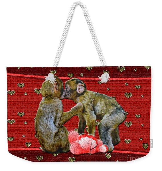 Kissing Chimpanzees Hearts Weekender Tote Bag