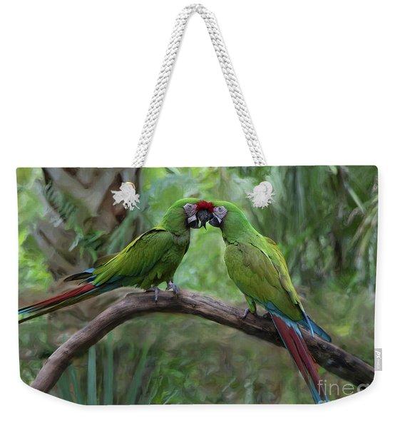 Kissing Macaws Weekender Tote Bag