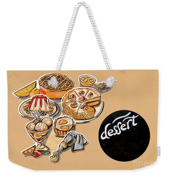 Kitchen Illustration Of Menu Of Desserts  Weekender Tote Bag