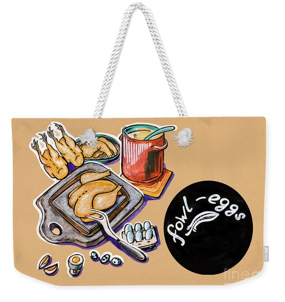 Kitchen Illustration Of Menu Of Fowl  Products  Weekender Tote Bag