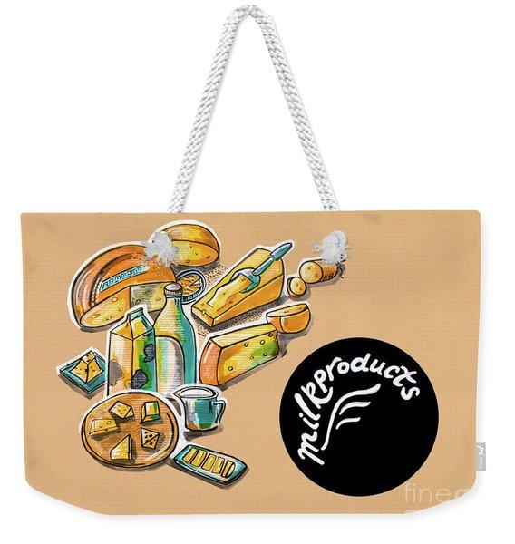 Kitchen Illustration Of Menu Of Milk Products  Weekender Tote Bag
