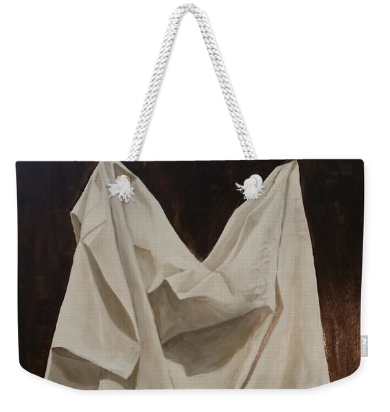 Weekender Tote Bag featuring the painting Painting Alla Rembrandt - Minimalist Still Life Study by Rosario Piazza