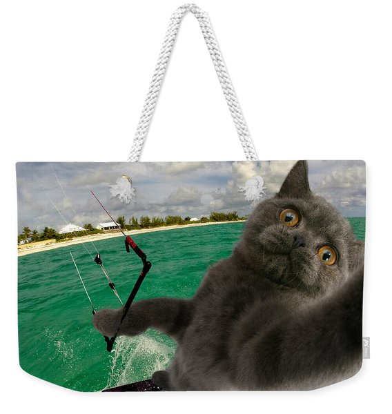 Kite Surfing Cat Selfie Weekender Tote Bag
