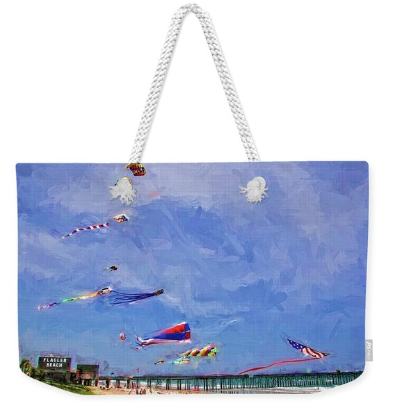 Kites At The Flagler Beach Pier Weekender Tote Bag