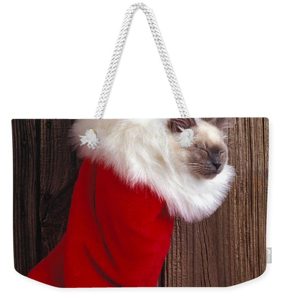Kitten In Stocking Weekender Tote Bag