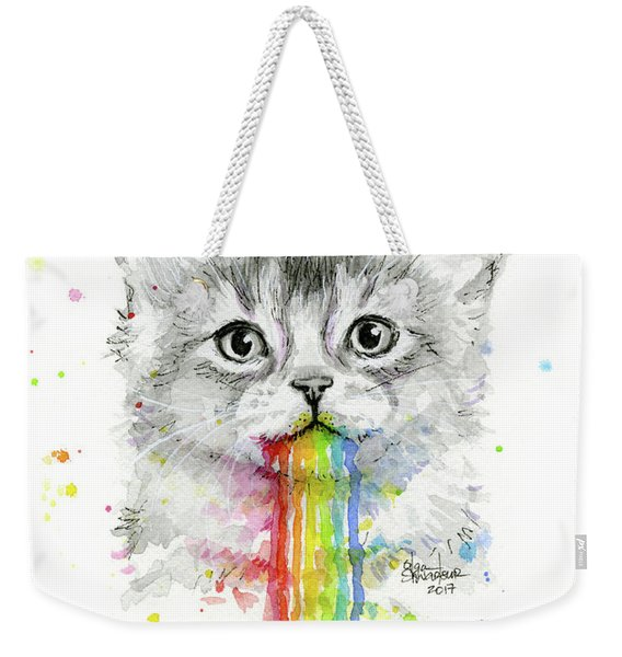 Kitten Puking Rainbows Weekender Tote Bag