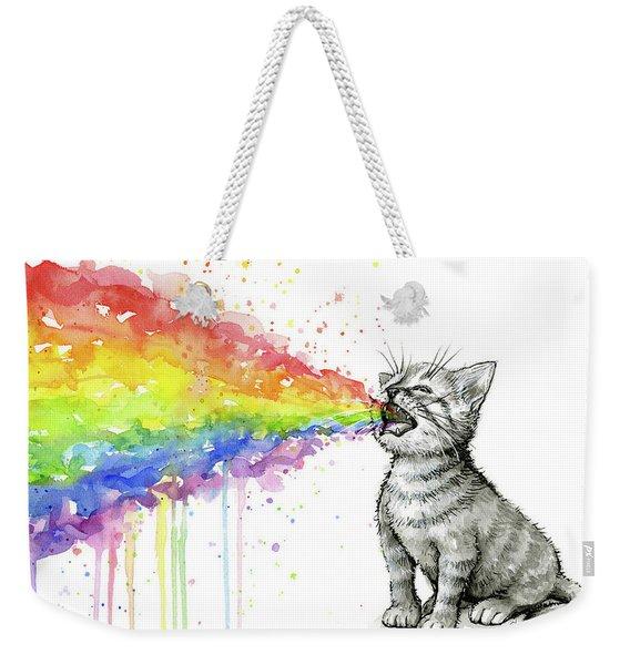 Kitten Tastes The Rainbow Weekender Tote Bag